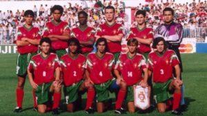 Portugal campeã mundial sub-20 em 1991, com jovens promissores como Luís Figo e Rui Costa