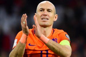 Robben em sua despedida da seleção da Holanda.
