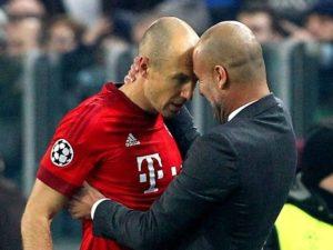 Robben e Guardiola no Bayern.