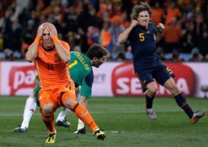 Arjen Robben na final da Copa do Mundo 2010.