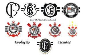 Evolução dos escudos do Corinthians.