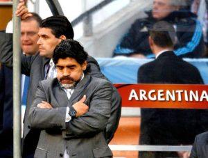 Maradon em Alemanha 4 x 0 Argentina, nas quartas de finais da Copa de 2010.