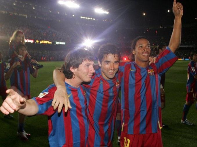 Messi, Deco e Ronaldinho Gaúcho.