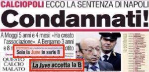 Escandalo que derrubou a JUventus para a Serie B.