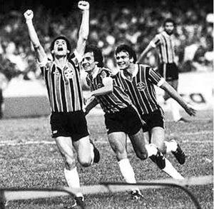 Grêmio na conquista de seu primeiro título brasileiro.