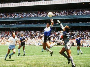 Gol antalogico nas quartasde finais da Copa do Mundo de 1986.
