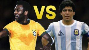 Pelé e Maradona são considerados os dois melhores da história.