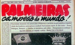 Notícia do título mundial do palmeiras em 1951.