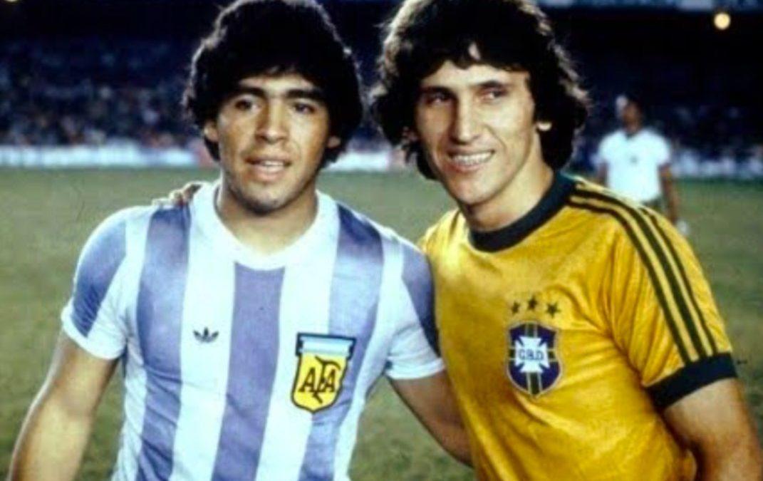 Maradona e Zico em 1979.