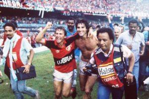 Zico e Renato Gaúcho em 1987, pelo Flamengo.