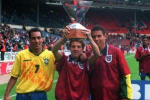 Edmundo, Juninho e Ronaldo pela seleção brasileira.