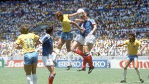 França vs Brasil nas quartas de finais da Copa do Mundo de 1986.