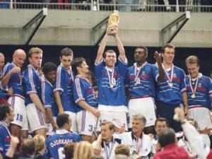 Seleção Francesa de Futebol em seu primeiro título da Copa do Mundo, em 1998.