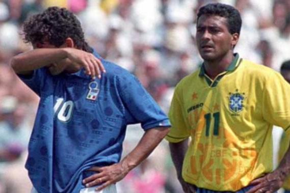 Roberto Baggio e Romário na final do Mundial de 1994.