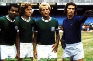 Luís Pereira ao lado de Leivinha, Ademir da Guia e Leão.