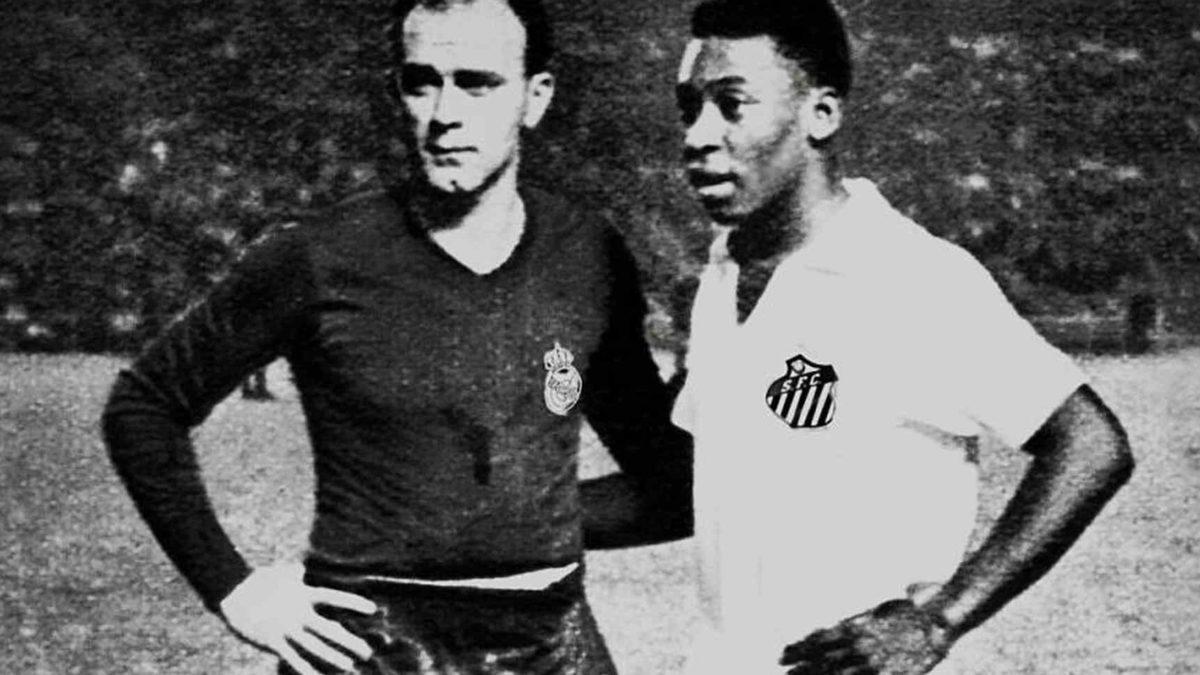Di Stefano e Pelé, craques de Real Madrid e Santos.