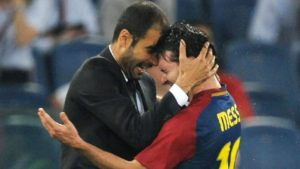 Pep Guardiola e Lionel Messi, duas lendas do FC Barcelona.